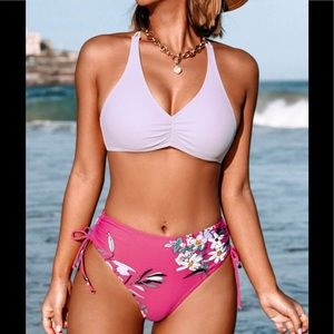 Cupshe Light Purple and Floral Braided Back Bikini